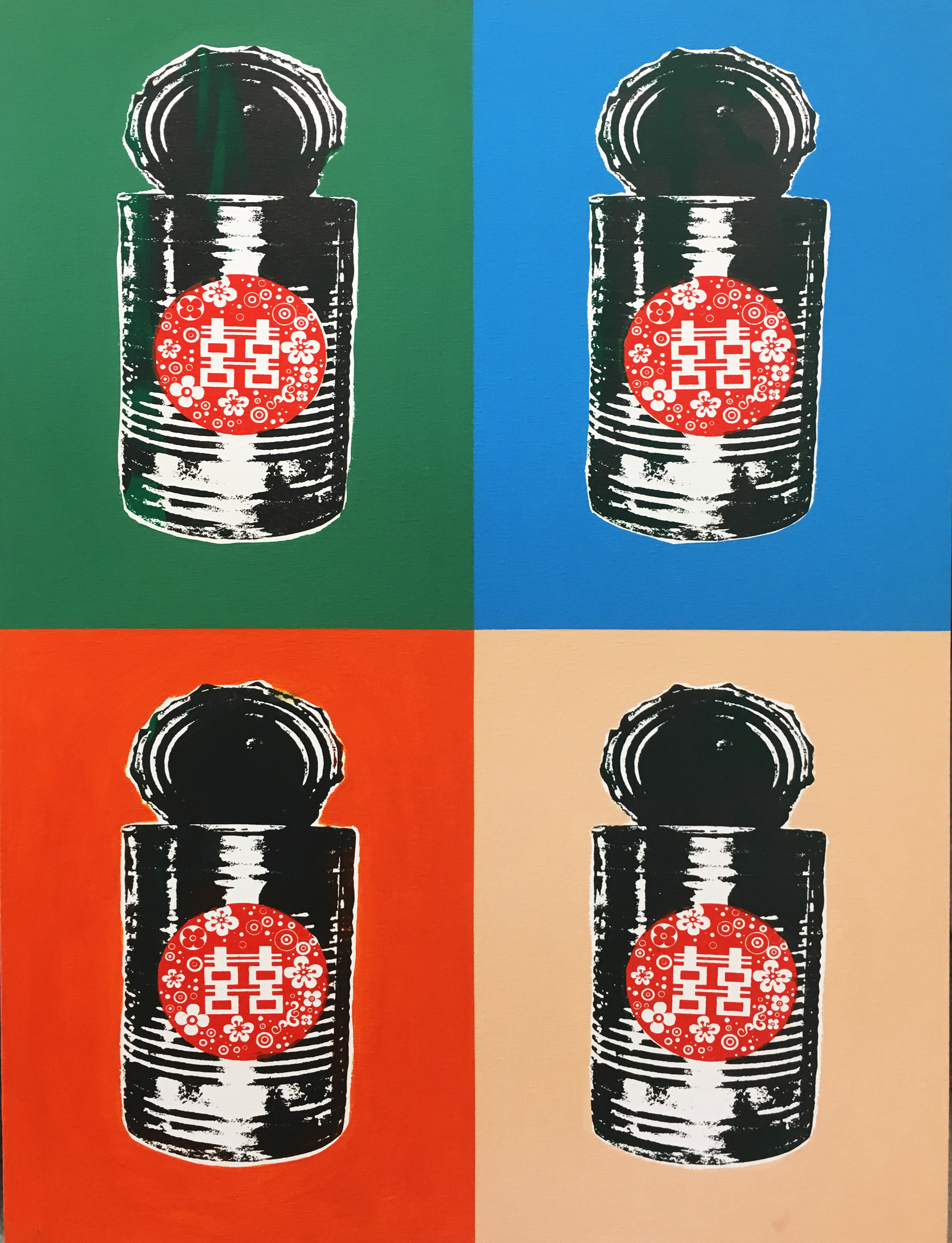 Justin Lee_Tin Can Double Happiness 3_Silkscreen Print On Canvas_48x59cm_2017